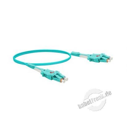 LWL Patchkabel Uniboot, 50/125 μm, OM3-Faser, LC Duplex Stecker/ LC Duplex Stecker, UPC, aqua, 2,0 m UPC-Schliff