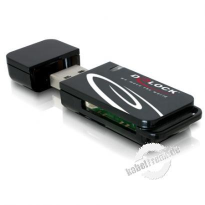 DeLOCK Card Reader-USB2.0 ext. 18in1 2xSlots Mit diesem CardReader können Sie an Ihrem Notebook oder PC über den USB Port die verschiedenen Speicherkarten lesen. Sie können damit 18 verschiedene Speicherkarten lesen und beschreiben