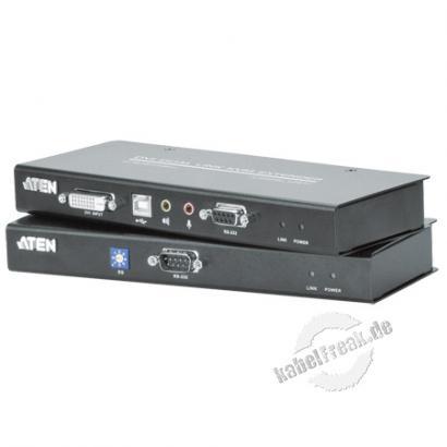 ATEN DVI KVM Extender mit Audio CE602, Dual Link Ermöglicht die Übertragung von Monitor-, Keyboard-, Maus-, Audio- und seriellen Signalen bis zu 60 m über die vorhandene Cat.5e Verkabelung