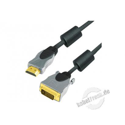 Professional HDMI DVI Kabel, High Quality, vergoldet, HDMI St. A / 24+1pol DVI-D St., 10,0 m Hochwertiges Anschlusskabel zur Übertragung von digitalen Monitorsignalen
