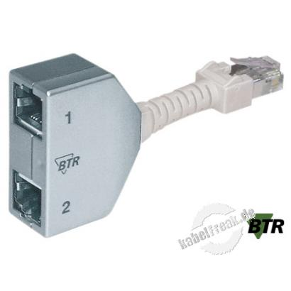 MetzConnect  Cable Sharing Adapter, Cat.5, 2x Telefon Zum Anschluss von 2 Komponenten über eine Leitung