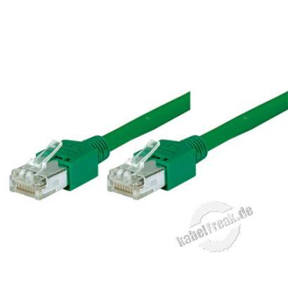 Tecline Patchkabel Cat. 5e, SF/UTP, halogenfrei, grün, 0,5 m Kupferpatchkabel mit Draka Rohkabel und Hirose Steckern