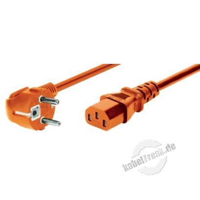 Bachmann Netzanschlusskabel, Schutzkontaktstecker abgewinkelt an Kaltgerätebuchse, orange, 3,0 m Netzanschlusskabel für Deutschland, Frankreich, Belgien..
