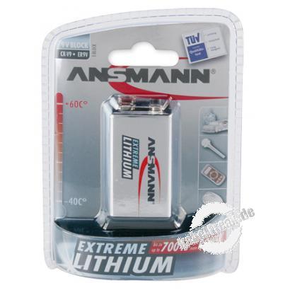 Ansmann Extreme Lithium Batterie, 9V Block (E), VE: 1 Stück Mehr Kraft, mehr Energie, mehr Leistung bei einer extrem langen Lebensdauer