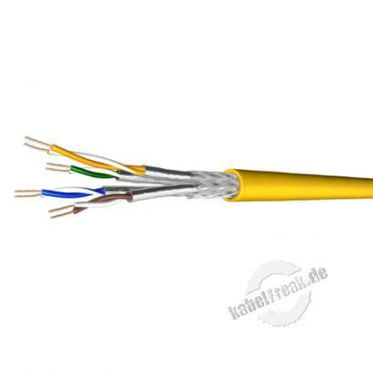 Draka Patchkabel UC900 SS27, Cat. 7, S/FTP (PiMF), halogenfrei, gelb, 500 m Einwegtrommel Paarweise und gesamtgeschirmtes Patchkabel