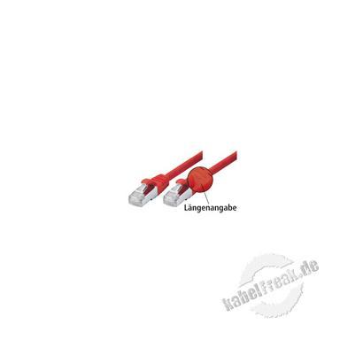 Patchkabel Cat. 5e, SF/UTP, mit Rastnasenschutz, rot, 10,0 m Geschirmtes Patchkabel mit schmalem Knickschutz