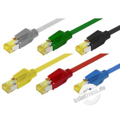 Patchkabel S/FTP, PiMF, CAT.6A ISO IEC, grün, 7,5 m Premium Patchkabel, Dätwyler 1200MHz CAT.7 Rohkabel, Hirose TM31 Stecker, halogenfrei