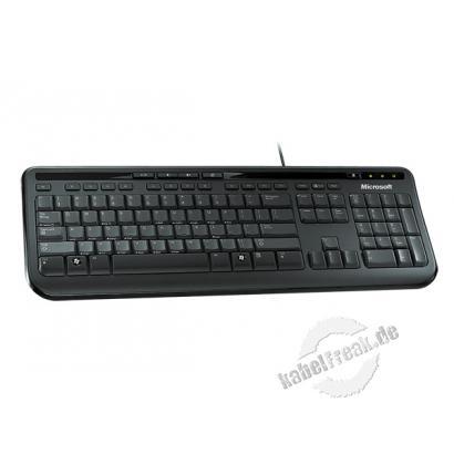 Microsoft Wired Keyboard 600, USB, schwarz Preisgünstige Multimedia-Tastatur
