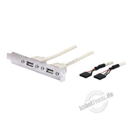 USB 2.0 Slot Adapter, 2x USB Buchse A / 2x 5pol Buchse, ca. 0,3 m Führt den USB-Anschluss nach außen