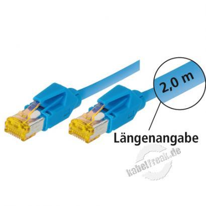 Tecline Patchkabel Cat. 6A (ISO/IEC), S/FTP (PiMF), halogenfrei, mit Rastnasenschutz, blau, 20,0 m 10-Gigabit-fähiges Premiumpatchkabel mit Leoni Cat. 7 Rohkabel und Hirose Steckern