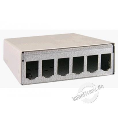 MetzConnect E-DATmodul 6er AP-Gehäuse RW, RAL9010, unbestückt  Modulgehäuse Aufputz unbestückt zur Aufnahme von 6 E-DAT modul Einzelmodulen oder Zubehör- und Erweiterungsmodulen