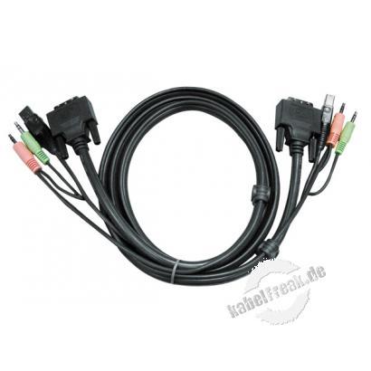 ATEN KVM DVI Kombikabel, Duallink, 24+1pol DVI-D St./St., USB St. A/St. B, 3,5 mm Stereo Klinkenst./st., 3,0 m Zum Anschluss von KVM-Umschaltern mit DVI-Interface, USB und Audio an den Pc