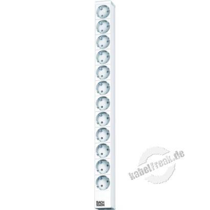 Bachmann 19' Steckdosenleiste, 12-fach, Anschlussleitung 2,0 m, hellgrau RAL 7035