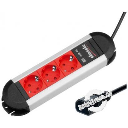 Bachmann Steckdosenleiste 'Connectus' 330.300, 3-fach, Anschlussleitung 2,0 m mit Kaltgerätestecker z. B. zum Anschluss von Geräten mit 'normalem' Schutzkontakt-Stecker an eine USV