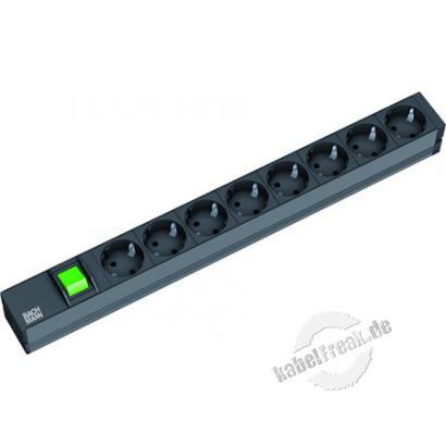 Bachmann 19' PDU Basic, Steckdosenleiste mit Schalter 8-fach Schutzkontaktsteckdose, schwarz