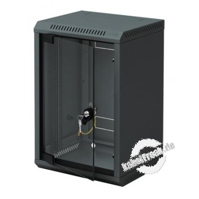 Triton 10' Wandgehäuse RBA-10, 1-teilig, 6 HE, 310 x 260 mm, schwarz RAL 9005 Gehäuse zur Realisierung von kleineren Anwendungen wie Hausnetze, Home Office oder Netzwerke kleiner Firmen