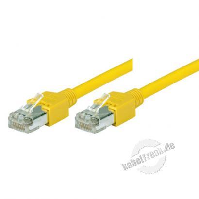 Tecline Patchkabel Cat. 5e, SF/UTP, halogenfrei, gelb, 2,0 m Kupferpatchkabel mit Draka Rohkabel und Hirose Steckern