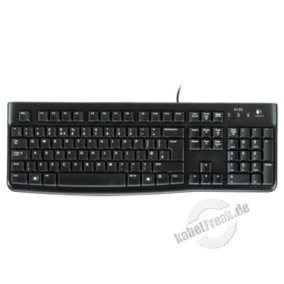 Logitech Keyboard K120 retail, USB, schwarz Komfortable Tastatur mit hohem Tippvergnügen