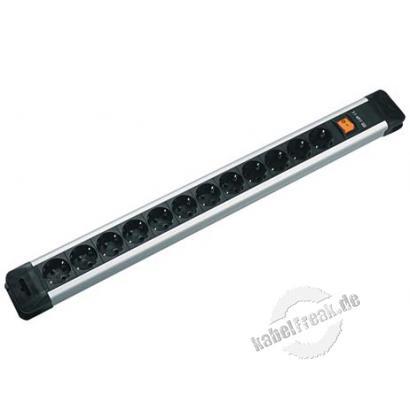 Bachmann Steckdosenleiste 'Connectus', 12-fach, mit Schalter, Anschlussleitung 2,0 m, schwarz / silber