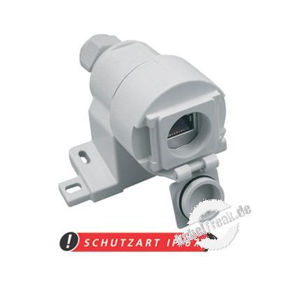 MetzConnect E-DAT Industry IP67 Datendose, Cat.6, hellgrau RAL 7035 Wasserdichte RJ45-Anschlussdose für den rauen Industrieeinsatz