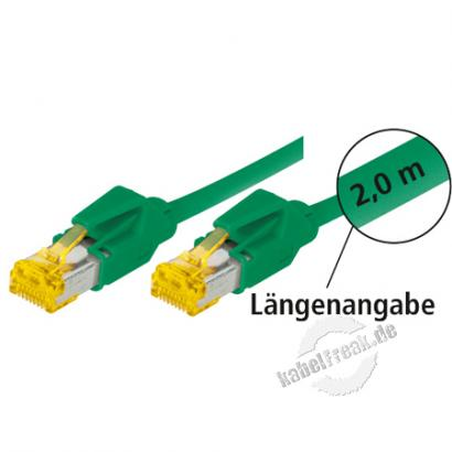 Tecline Patchkabel Cat. 6A (ISO/IEC), S/FTP (PiMF), halogenfrei, mit Rastnasenschutz, grün, 15,0 m 10-Gigabit-fähiges Premiumpatchkabel mit Leoni Cat. 7 Rohkabel und Hirose Steckern