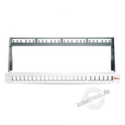 Dätwyler Modulträger für 24 unilan Modul Anschlussbuchsen, 19', hellgrau RAL 7035 Zum Aufbau eines Patchfeldes mit bis zu 24 Ports