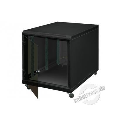 Triton 19' Untertisch-Netzwerkschrank, 12 HE, 600 x 800 mm, schwarz RAL 9005 Netzwerkschrank mit 4 Holmen zum Aufstellen unter Schreibtischen