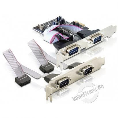 DeLOCK Schnittstellenkarte PCI Express -> 4 x Seriell Die Delock PCI Express Karte erweitert Ihren PC um vier externe Serielle Ports. Sie können an die Karte verschiedene Geräte wie z.B. Scanner, Drucker, Mäuse etc. anschließen