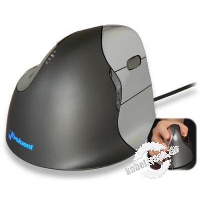 Evoluent VerticalMouse 4, Rechtshänder, USB, anthrazit / silber Optische Maus mit senkrechter Bediener-Oberfläche für ergonomisches Arbeiten