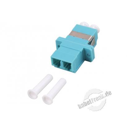 LWL Kupplung LC/LC, Duplex, Multimode OM3, Kunststoff-Gehäuse mit Keramik-Ferrule, aqua Ausbrüche 9 x 13 mm
