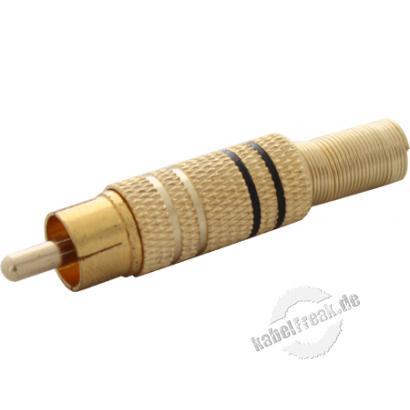 Cinch Stecker, vergoldet, schwarzer Kennring, für Kabeldurchmesser bis 7 mm