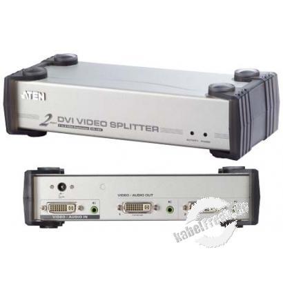 ATEN DVI-Splitter mit Audio, 2-fach Bild und Ton von einem Pc werden gleichzeitig auf mehrere Monitoren /Beamer und Lautsprechern dargestellt