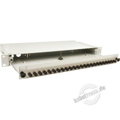 LWL Spleißbox, 24-fach ST-Simplex, inklusive ST Simplex-Kupplungen, Multimode, 19', ausziehbar, hellgrau RAL 7035 Mit Kupplungen bestückte Spleißbox zum Anschluss vorkonfektionierter LWL-Installationskabel oder Pigtails