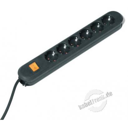 Bachmann. Steckdosenleiste 'Smart', 6-fach, mit Schalter, Anschlussleitung 3,0 m, schwarz