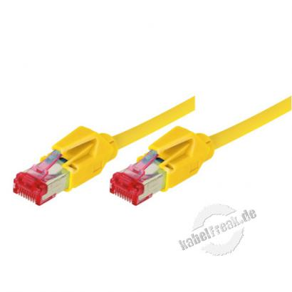 Patchkabel S/FTP, PiMF, CAT.6A EIA/TIA, Class EA, gelb, 7,5 m Premium Patchkabel, Leoni CAT.7 Rohkabel, Hirose TM21 Stecker, halogenfrei