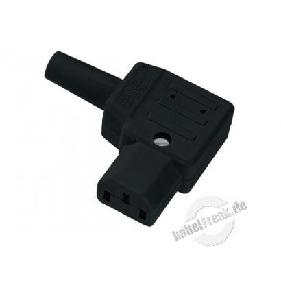Bachmann Kaltgerätekupplung C13, 10 A, abgewinkelt, schwarz Ideal bei Platzproblemen