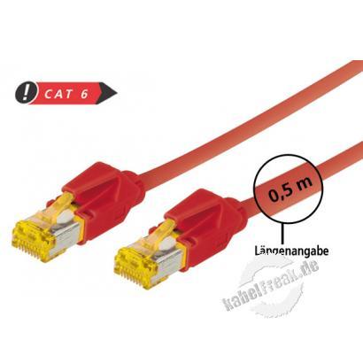 Tecline Patchkabel Cat. 6A (ISO/IEC), S/FTP, halogenfrei, mit Rastnasenschutz, rot, 1,5 m 10-Gigabit-fähiges Premiumpatchkabel mit Draka Cat. 7 Rohkabel