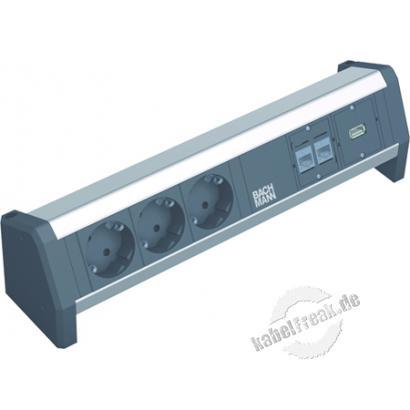 Bachmann DESK 1 Facility System, 2 x RJ45 Buchse Cat5e + USB Buchse + 3 x Schutzkontaktsteckdose äusserst vielseitiges System für Home Office und Arbeitsplatz