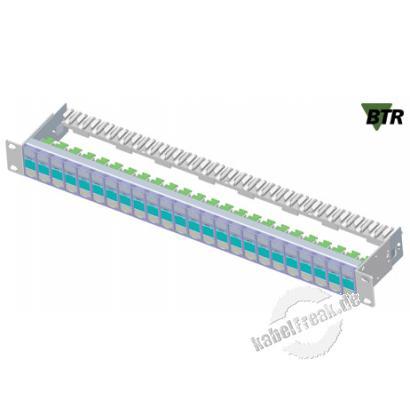 MetzConnect Patchfeld E-DAT modul, Cat.6A, 24 Port, 19', silber eloxiert