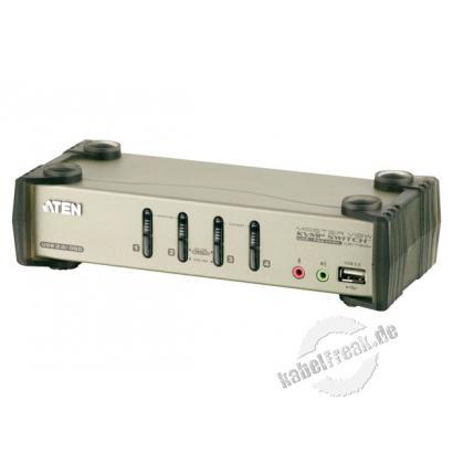 ATEN KVM Switch mit Audio, USB 2.0 und PS/2, 4-fach, OSD, Desktop, mit Anschlusskabeln Mehrere Pcs mit USB- oder PS/2-Anschluss werden von 1 Arbeitsplatz (USB oder PS/2 Tastatur, Monitor, USB oder PS/2 Maus) gesteuert