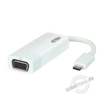 ATEN UC3002, USB-C auf VGA Adapter Der Adapter unterstützt hohe Videoauflösungen von bis zu 2048 x 1152 bei 60 Hz