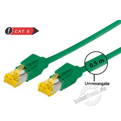 Tecline Patchkabel Cat. 6A (ISO/IEC), S/FTP, halogenfrei, mit Rastnasenschutz, grün, 1,5 m 10-Gigabit-fähiges Premiumpatchkabel mit Draka Cat. 7 Rohkabel