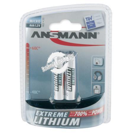 Ansmann Extreme Lithium Batterie, Micro (AAA), VE: 2 Stück Mehr Kraft, mehr Energie, mehr Leistung bei einer extrem langen Lebensdauer