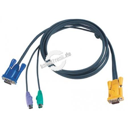 Oktopuskabel PS/2, 6,0 m Zum Anschluss eines PCs an Arbeitskonsolen und KVM-Switche