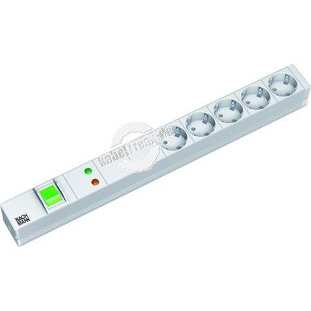 Bachmann 19' PDU Basic, Steckdosenleiste mit Überspannungsschutz + Netz- und Frequenzfilter , 5-fach Schutzkontaktsteckdose
