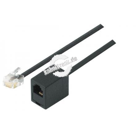 Modular-Verlängerungskabel, RJ11 St. (6P4C) / RJ11 Bu. (6P4C), schwarz, 6,0 m Zum Verlängern des Anschlusskabels von Telefonen, Faxgeräten undModems