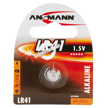 Ansmann Knopfzelle, LR41, 1,5 V Alkaline, VE: 1