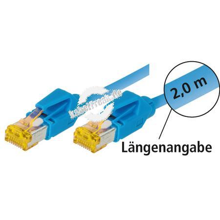 Tecline Patchkabel Cat. 6A (ISO/IEC), S/FTP (PiMF), halogenfrei, mit Rastnasenschutz, blau, 3,0 m 10-Gigabit-fähiges Premiumpatchkabel mit Leoni Cat. 7 Rohkabel und Hirose Steckern