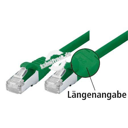 Patchkabel Cat. 5e, SF/UTP, mit Rastnasenschutz, grün, 0,25 m Geschirmtes Patchkabel mit schmalem Knickschutz