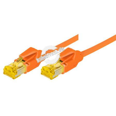 Tecline Patchkabel Cat. 6A (ISO/IEC), S/FTP, halogenfrei, mit Rastnasenschutz, orange, 1,5 m 10-Gigabit-fähiges Premiumpatchkabel mit Draka Cat. 7 Rohkabel